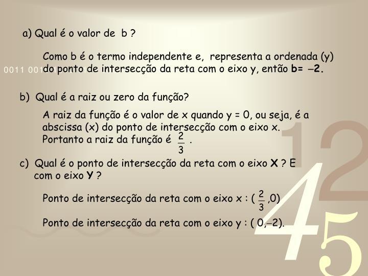 A raiz da função é o valor de x quando y = 0, ou seja, é a abscissa (x) do ponto de intersecção com o eixo x.