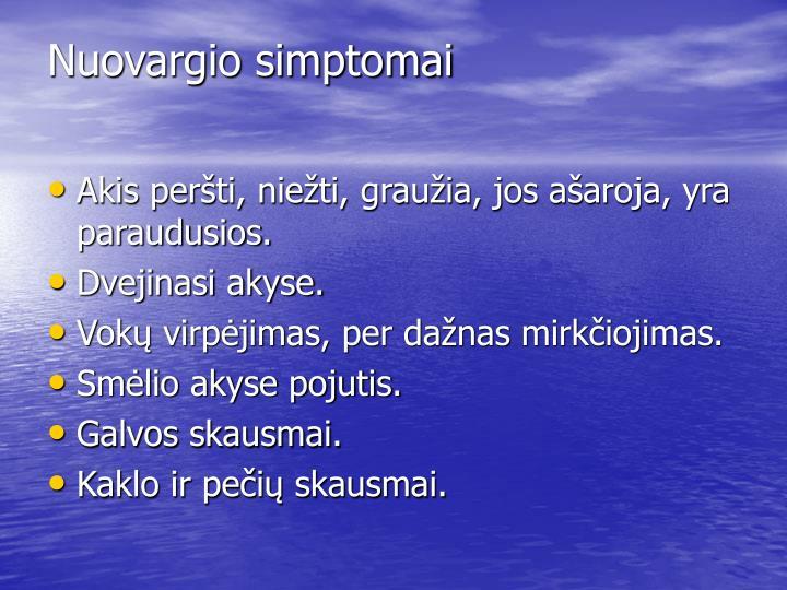 Nuovargio simptomai