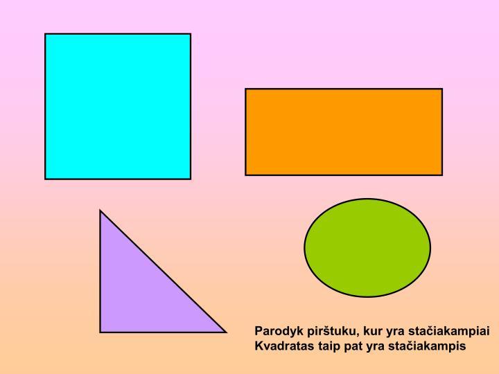 Parodyk pirštuku, kur yra stačiakampiai