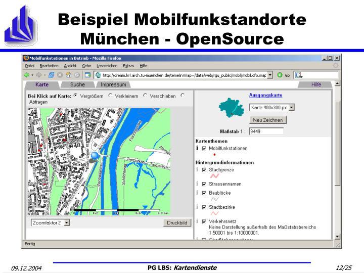 Beispiel Mobilfunkstandorte München - OpenSource