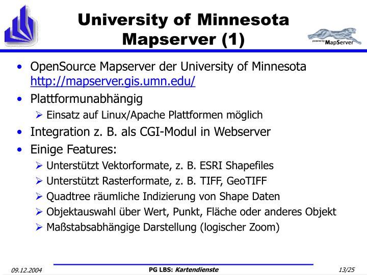 University of Minnesota Mapserver (1)