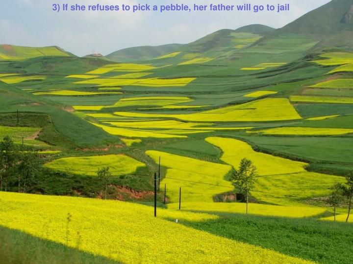 3) If she refuses to pick a pebble, her father will go to jail