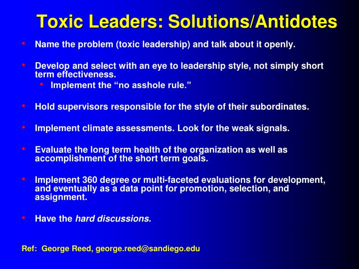Toxic Leaders: Solutions/Antidotes
