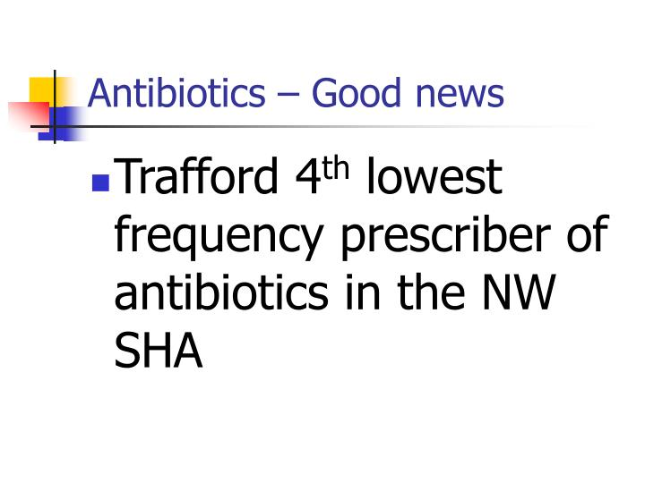 Antibiotics – Good news