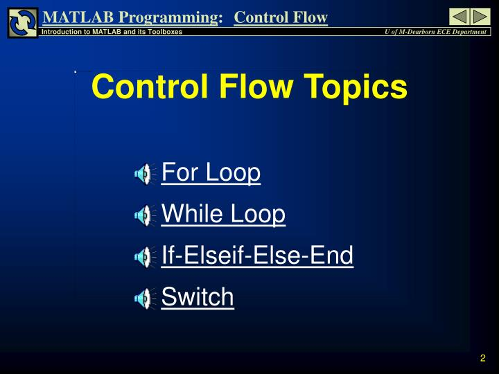Control Flow Topics