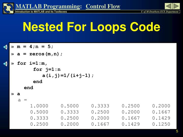 Nested For Loops Code
