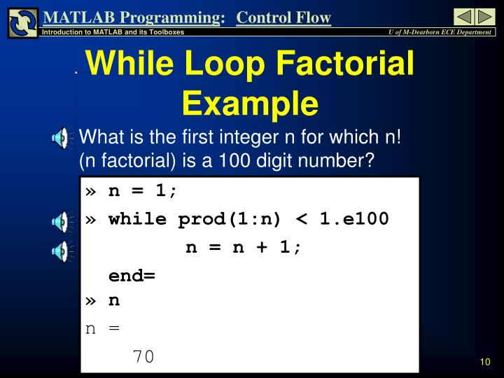 While Loop Factorial Example