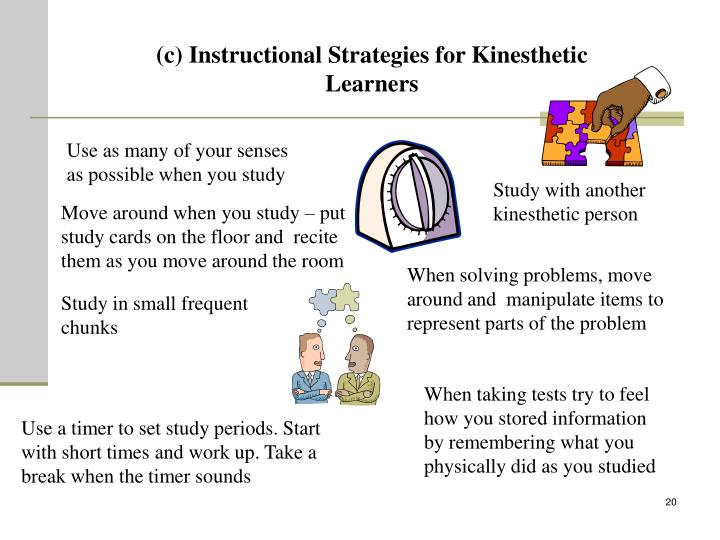 (c) Instructional Strategies for Kinesthetic Learners