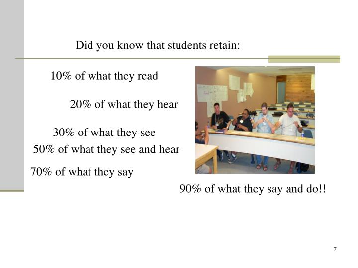 Did you know that students retain: