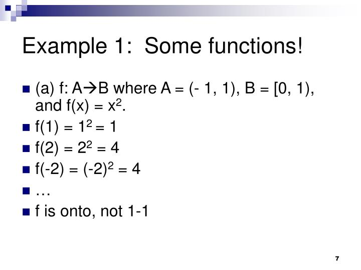 Example 1:  Some functions!