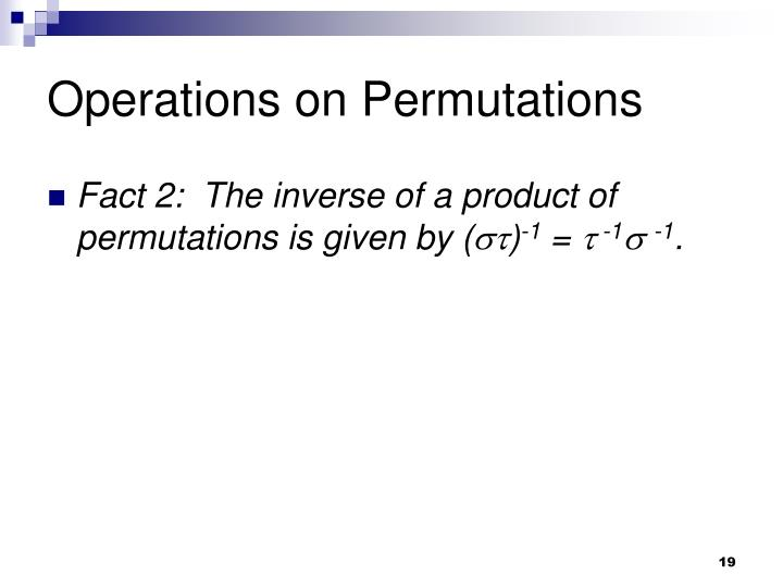 Operations on Permutations