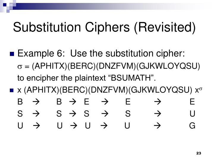 Substitution Ciphers (Revisited)