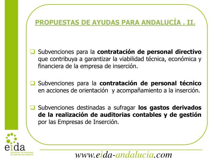 PROPUESTAS DE AYUDAS PARA ANDALUCÍA . II.