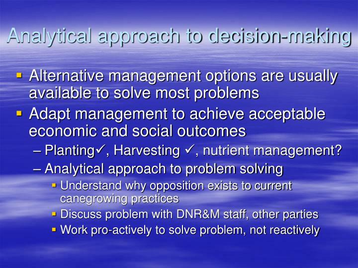 Analytical approach to decision-making