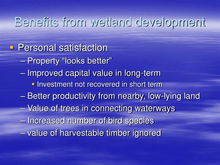 Benefits from wetland development