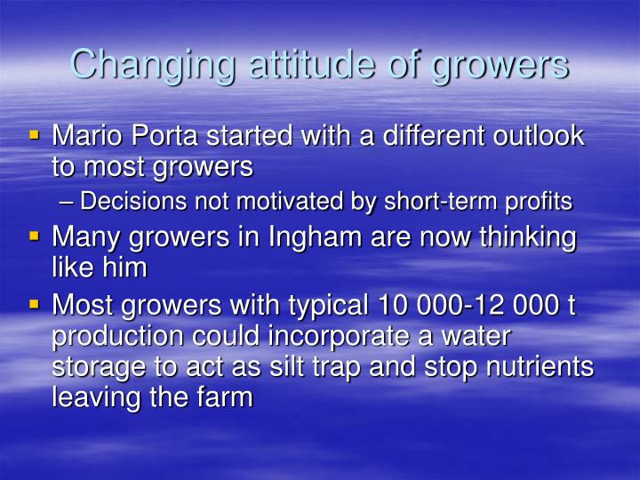 Changing attitude of growers