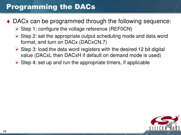 Programming the DACs