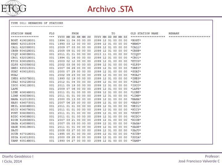 Archivo .STA