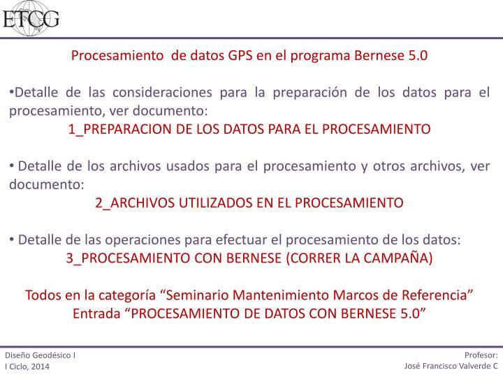 Procesamiento  de datos GPS en el programa Bernese 5.0