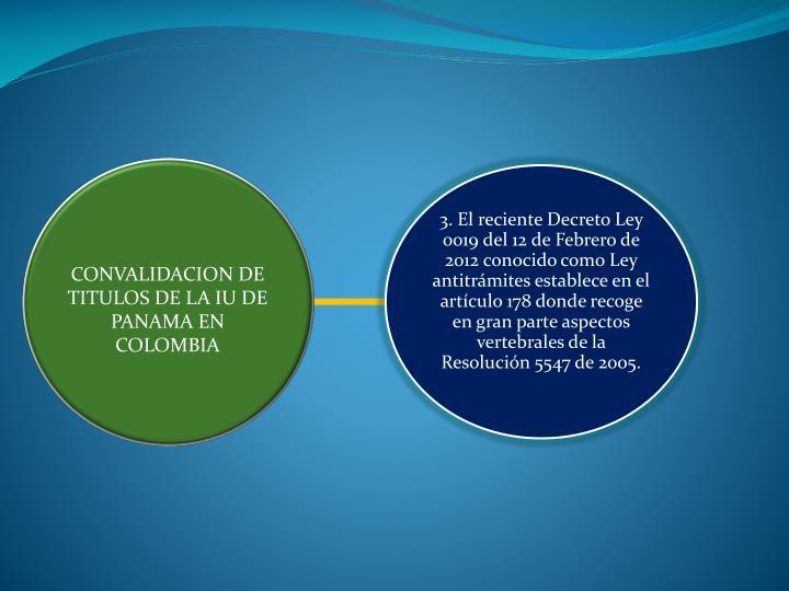 CONVALIDACION DE TITULOS DE LA IU DE PANAMA EN COLOMBIA
