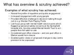 what has overview scrutiny achieved
