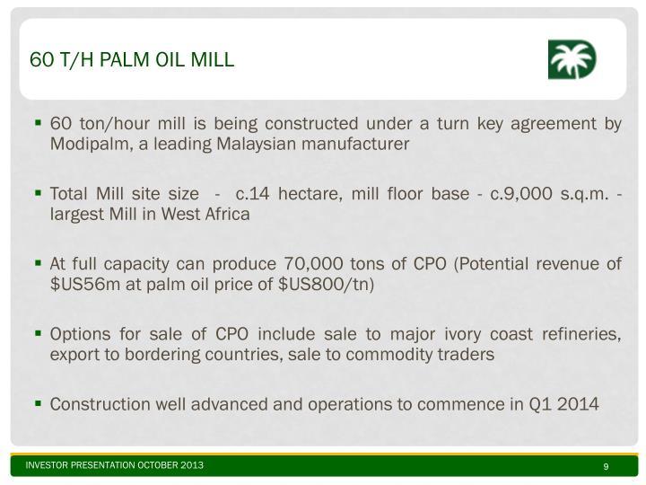 60 t/h Palm Oil