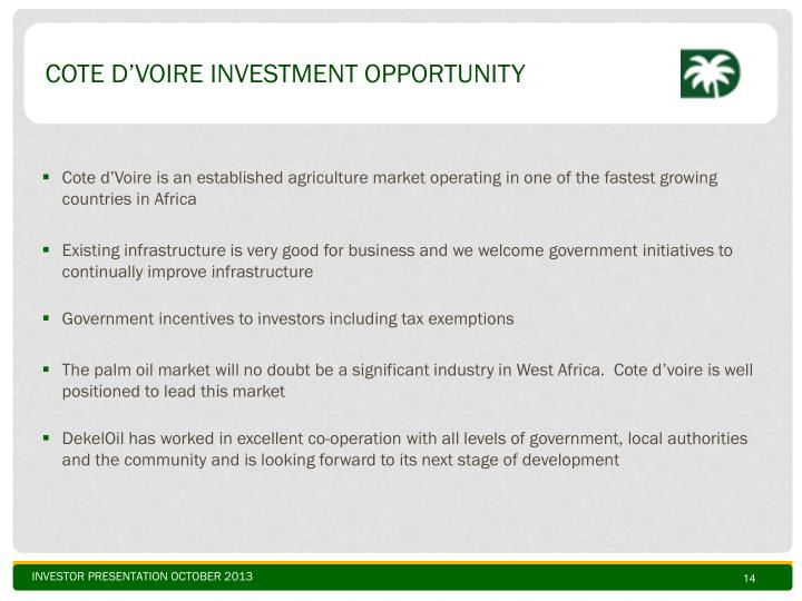 Cote d'Voire Investment Opportunity