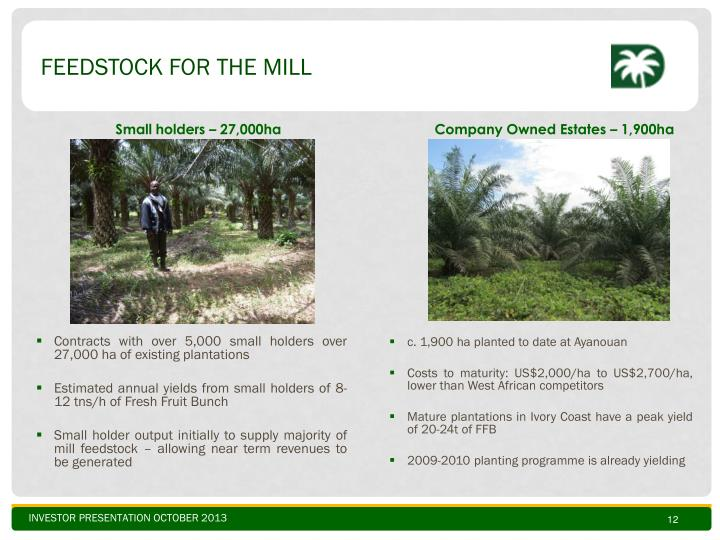 feedstock for THE Mill