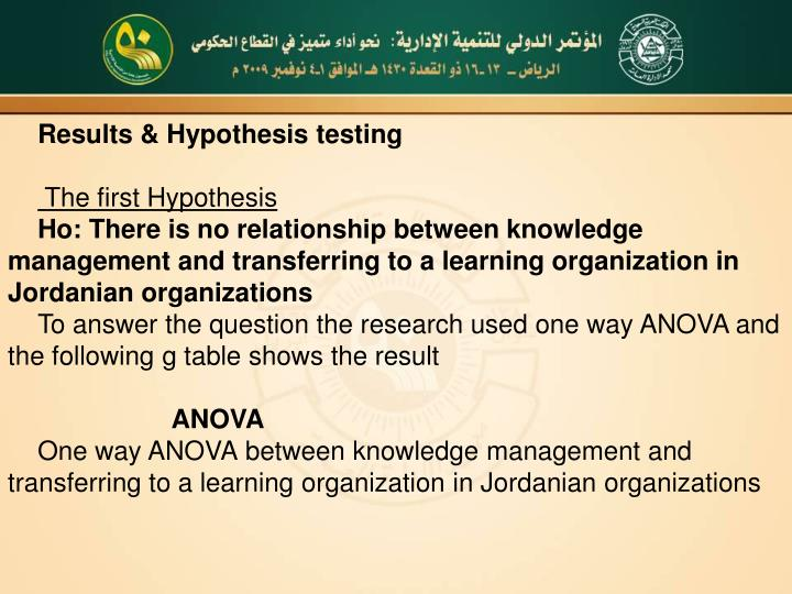 Results & Hypothesis testing