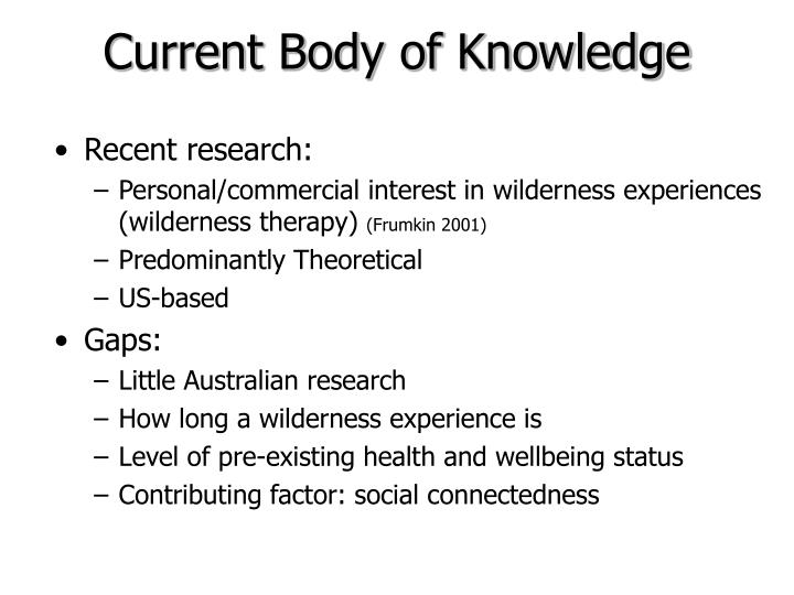Current Body of Knowledge