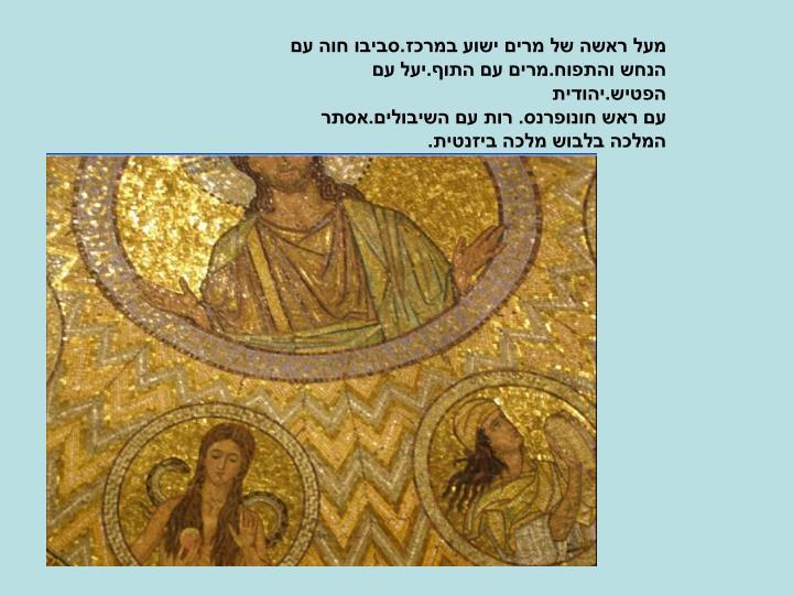 מעל ראשה של מרים ישוע במרכז.סביבו חוה עם הנחש והתפוח.מרים עם התוף.יעל עם הפטיש.יהודית