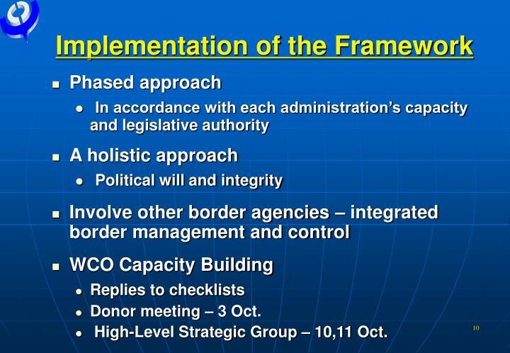 Implementation of the Framework