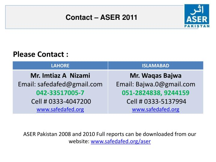Contact – ASER 2011