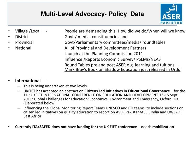 Multi-Level Advocacy- Policy  Data