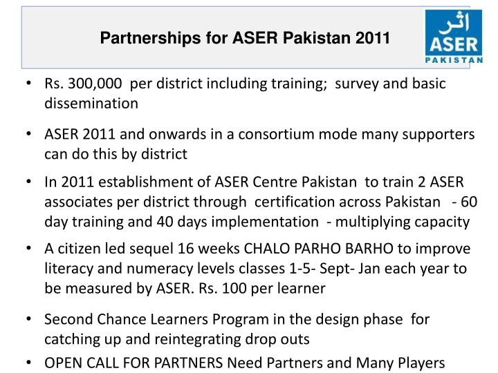Partnerships for ASER Pakistan 2011