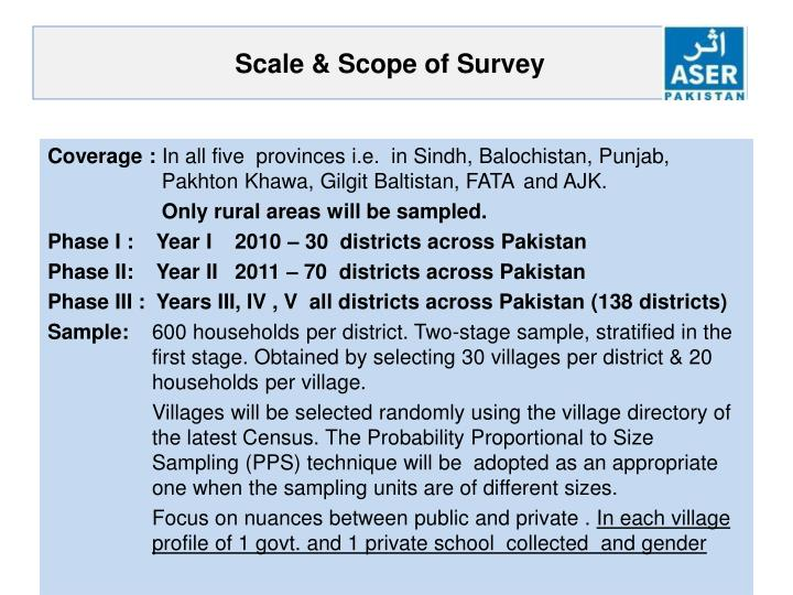 Scale scope of survey