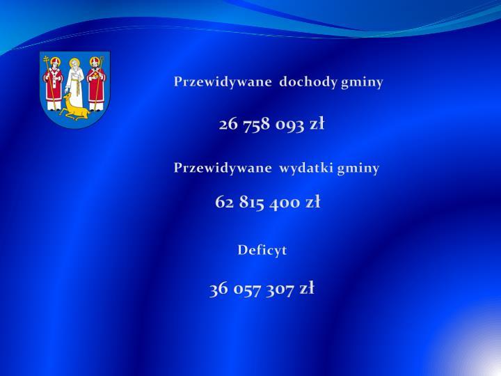 Przewidywane  dochody gminy