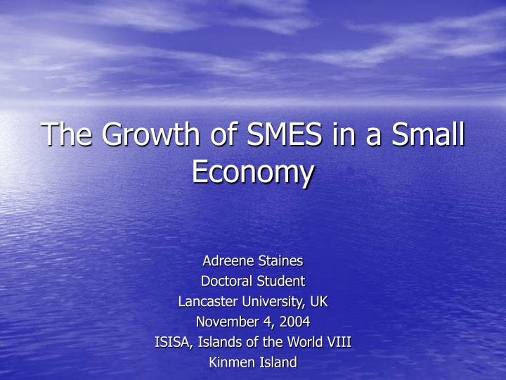 The Growth of SMES in a Small Economy