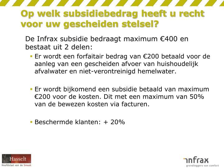 Op welk subsidiebedrag heeft u recht voor uw gescheiden stelsel?