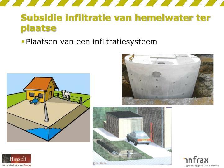 Subsidie infiltratie van hemelwater ter plaatse