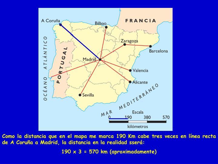 Como la distancia que en el mapa me marca 190 Km cabe tres veces en línea recta de A Coruña a Madrid, la distancia en la realidad sserá: