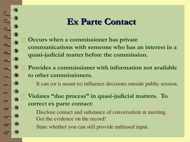 Ex Parte Contact