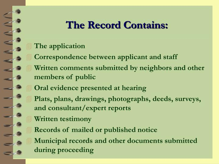 The Record Contains: