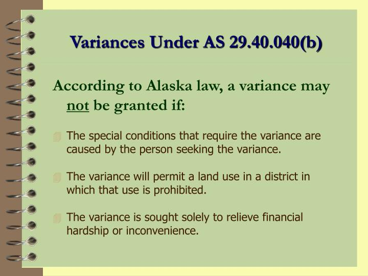 Variances Under AS 29.40.040(b)