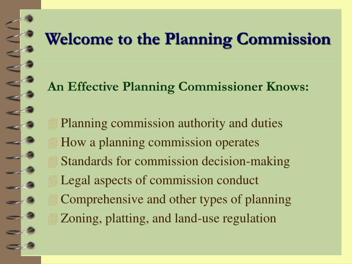 Welcome to the Planning Commission
