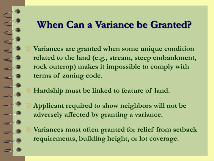 When Can a Variance be Granted?