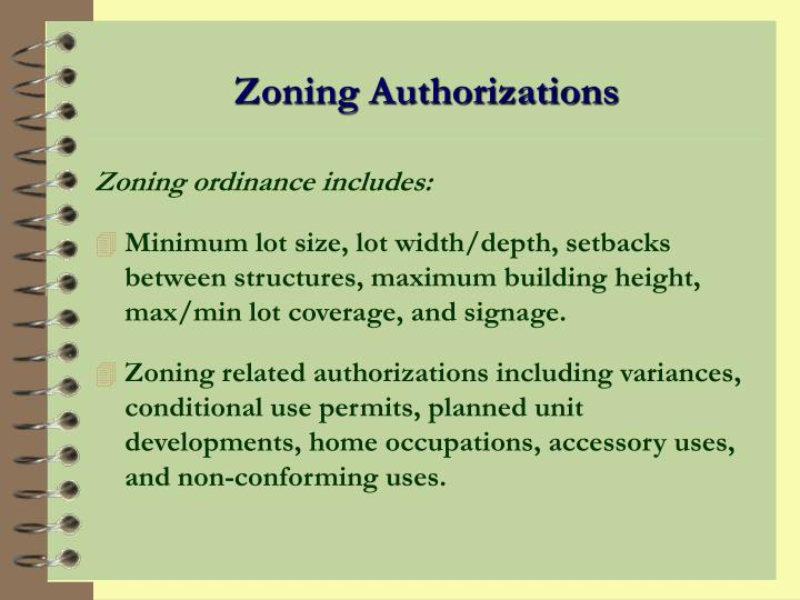 Zoning Authorizations