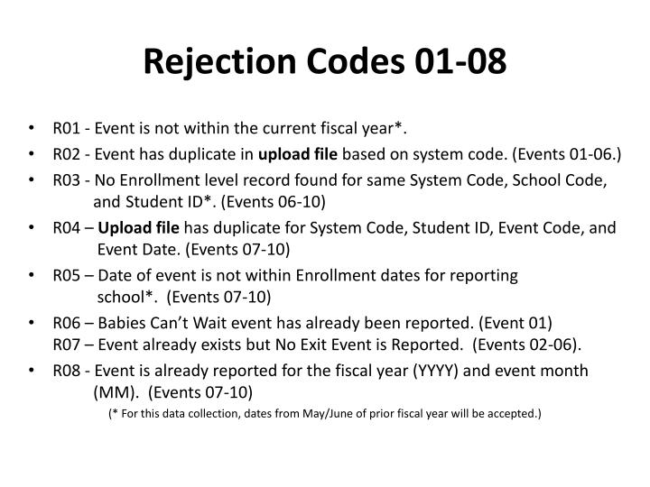 Rejection Codes 01-08