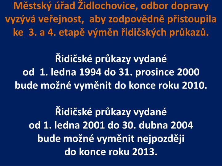 Městský úřad Židlochovice, odbor dopravy
