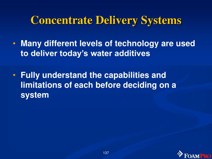 Concentrate Delivery Systems